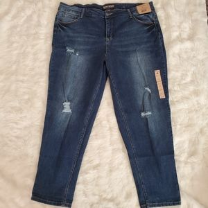 RUFF HEWN EASY SLIM DISTRESSED DENIM JEANS NWT